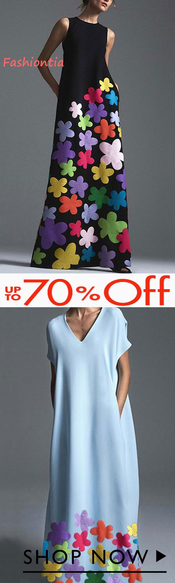 New Arrival!!  Fashion Round Collar Printing Maxi Dresses – Fashiontia