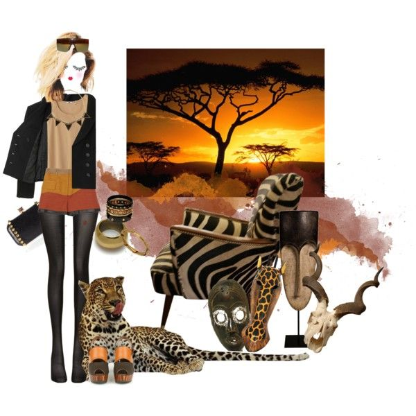 safari by drusilla90 on Polyvore featuring moda, Uniqlo, Proenza Schouler, Wolford, House of Harlow 1960, Ashley Pittman, Made, Versace, Paperself and GE