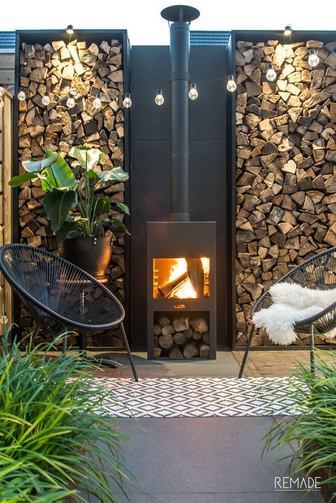 love the grasses and the fireplace