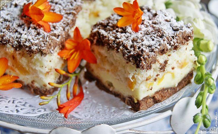 Nie tylko w kuchni: Kokosowo – budyniowe ciasto z brzoskwiniami