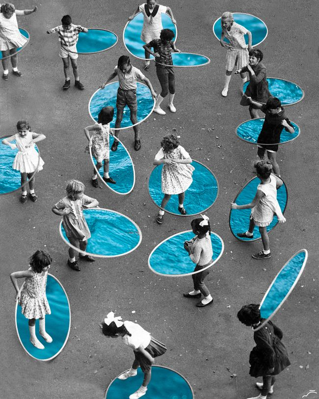 OMG this picture collage has the coolest concept. I love how this image is all black and white and then there is a colour splash on the water in the hula hoop. They have done a very good job editing this image.