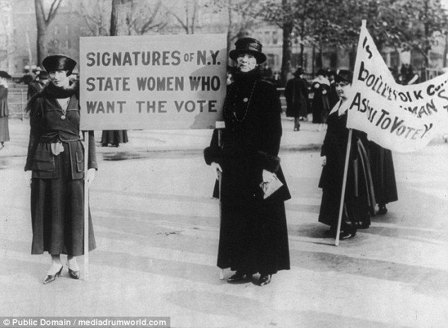 Suffragettes Audre Osborne and Mrs James S Stevens, with several others in background, pic...