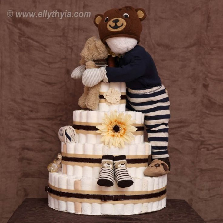 Brown Bear and Baby Boy Diaper Cake Ellythyia Diaper Cakes and Gift Baskets