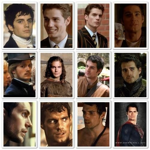 Henry Cavill Org.-Left to right, top to bottom: Count of Monte Cristo, Inspector Lynley Mysteries, Hellraiser: Hellworld, Stardust, Tristan and Isolde, Whatever Works, The Tudors, Blood Creek, Cold Light of Day, Man of Steel.