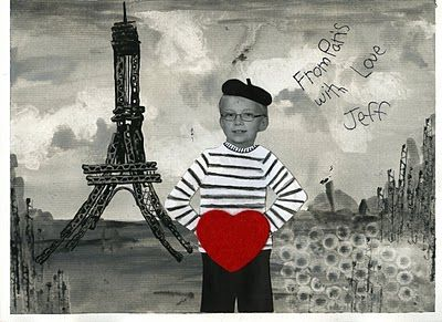"that artist woman: ""Postcard from Paris"" Valentine. I love this idea. Such a unique card to give parents!"
