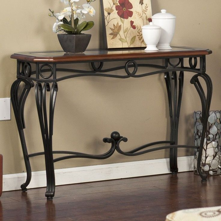 128 best wrought iron tables chairs images on pinterest for Wrought iron sofa table legs
