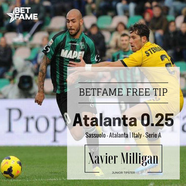 BetFame free soccer tips, contributed by Xavier Milligan . Sassuolo - Atalanta, Atalanta +0.25 at odds 1.80. #betfame