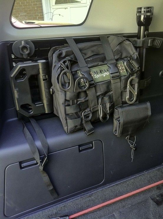 Steel grid (from Springtail Solutions) for Molle bags mounted to driver's side cargo area. Also has Mag light holder and a magnetic folding light. Folding light from Walmart.