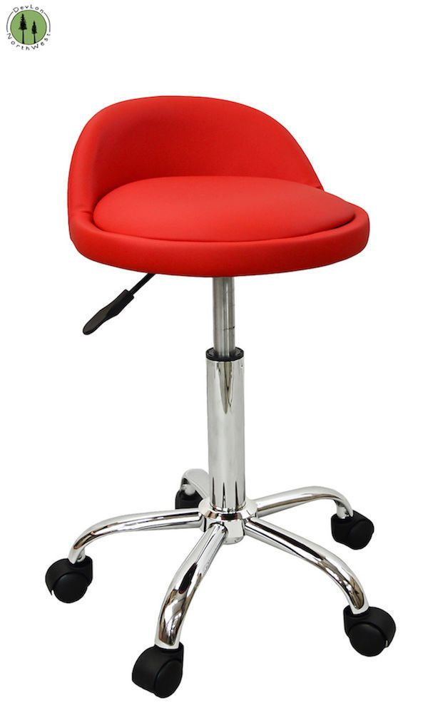Red Medical Manicure Pedicure Salon Spa Rolling Adjustable Beauty Stool