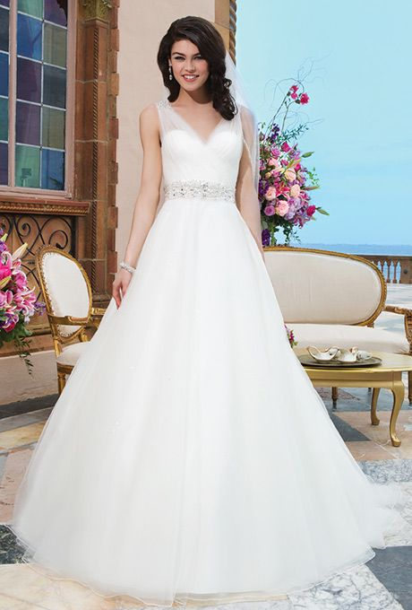Brides Sincerity Bridal Tulle Beading Ball Gown Accented By A V Neck Wedding Attire