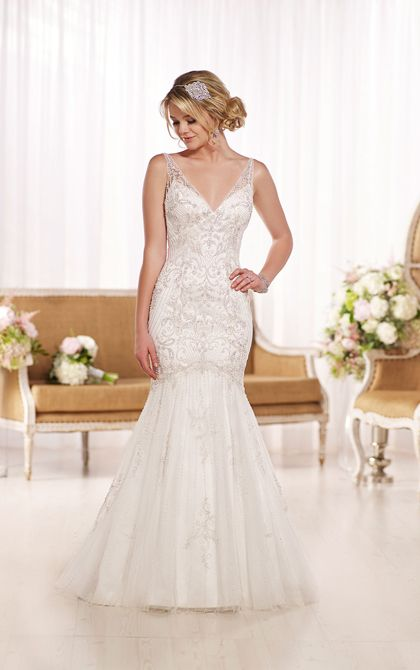 Cool s Great Gatsby affair wedding dress featuring a fit and flare Dolce Satin style