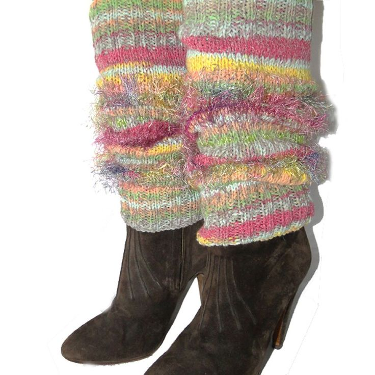 HAND KNITTED FAIR ISLE WOOL MIX LEG WARMERS DESIGNER LEGGINGS MULTI  PASTEL