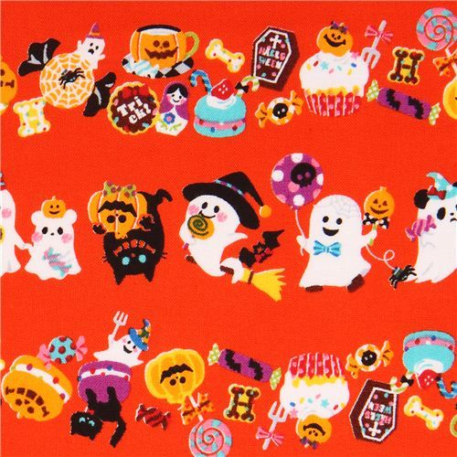 orange Trick or Treat ghost Cosmo Halloween fabric macaron #Halloween