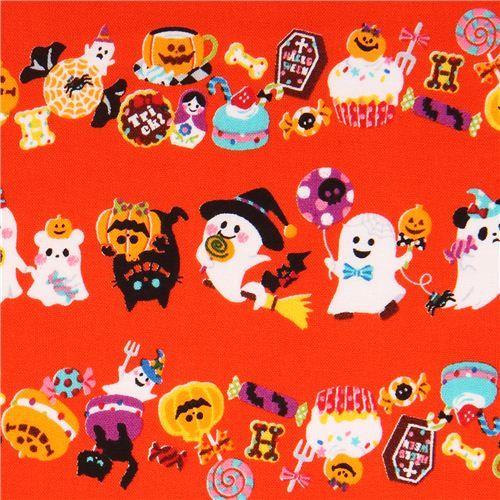 orange Trick or Treat ghost Cosmo Halloween fabric macaron #Halloween