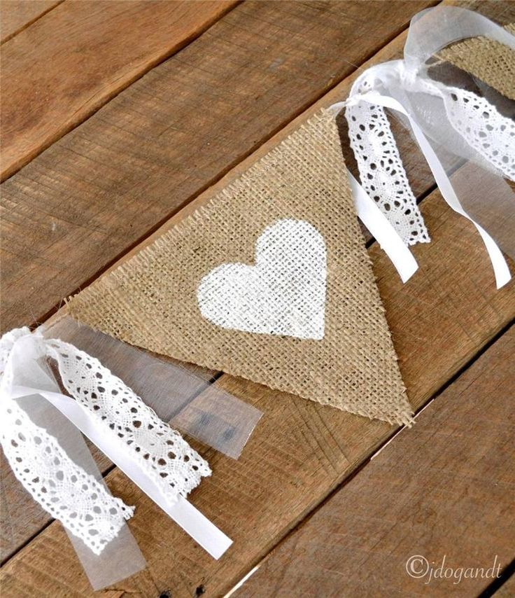 RUSTIC LACE HESSIAN BURLAP WEDDING BUNTING BANNER BRIDAL SHOWER VINTAGE BABY