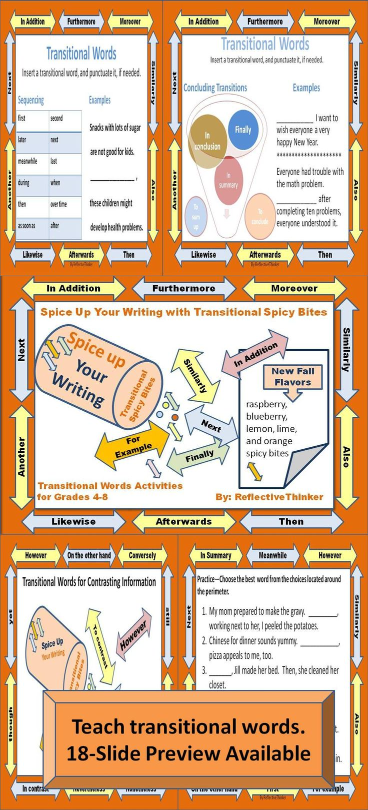 Transitional Words Spicy Bites is 32 slides with engaging activities and printables for Grades 4-8 designed to spice up students' writing. After using this resource, I observed a huge difference in my students' knowledge about and use of transitions.  Use the materials on a bulletin board to remind students to use transitional words in their writing in the New Year. Use it as a slideshow or print and assemble the pages in packets or handouts. #transitionalwords #transitions  #CCSS #newyear