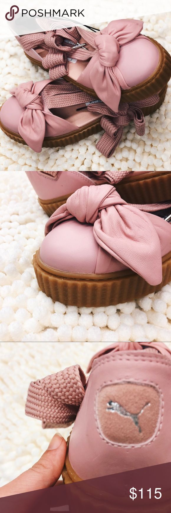 Fenty by Rihanna Bow Creeper Sandal Adorable Pink Rihanna Puma sandal. Laces up and pink with gum bottom. Size 8.5. Comment questions!❤️ brand new without tags. Puma Shoes Sandals