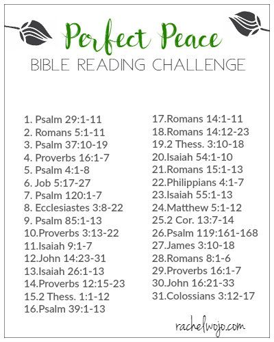 Perfect Peace Bible Reading Plan and Journal Challenge - RachelWojo.com