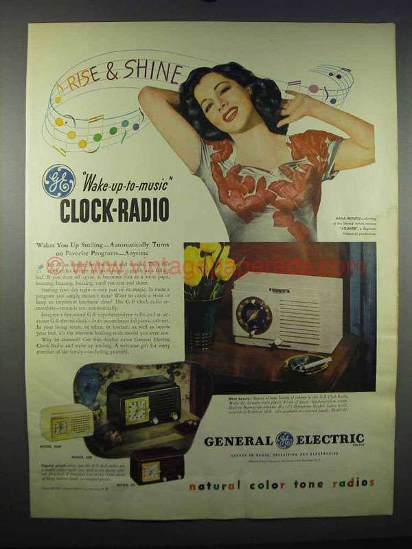 1947 General Electric Clock Radios Ad - Maria Montez