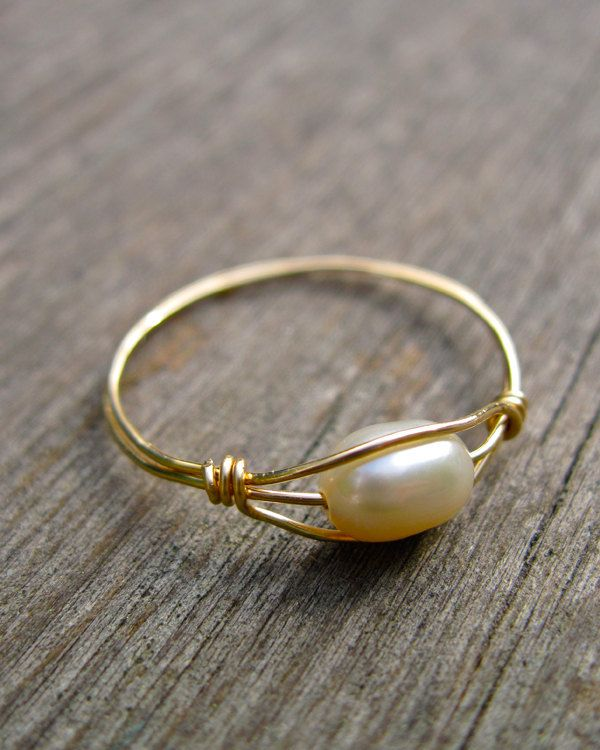 Freshwater Pearl Wire Wrapped Ring 14K Gold Filled, June Birthstone Ring. $26.00, via Etsy.