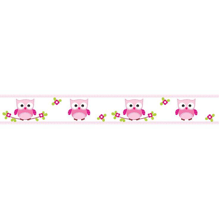 Faixa Decorativa Corujinhas em Tons de Rosa Sobre Branco - Papel de Parede Digital