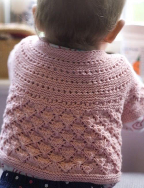 'Lucille' baby cardigan (free knit pattern).