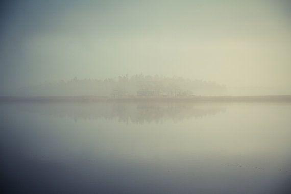 "Lake photography, Morning mist, Fog in Finland, Nature art print, Nordic mood, Scandinavia, Poster, Landscape, 12"" x 8"", 30 cm x 20 cm"