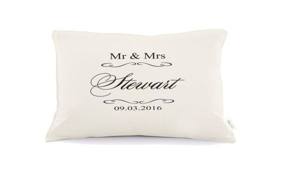 Mr & Mrs Pillow Personalized Wedding Pillow 2nd by Tulito on Etsy