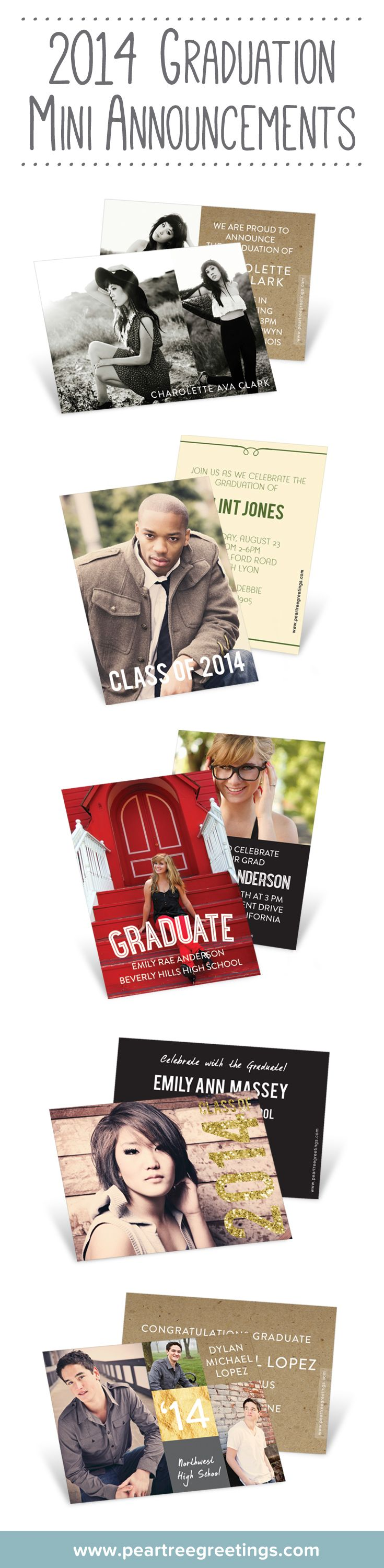 These pocket-size mini graduation announcements are perfect for handing out grad party details to friends at school!
