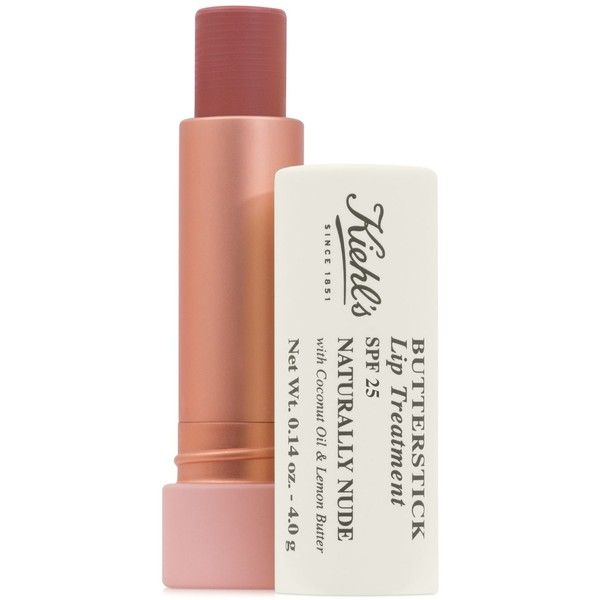 Kiehl's Since 1851 Butterstick Lip Treatment Spf 25 ($20) ❤ liked on Polyvore featuring beauty products, skincare, lip care, lip treatments and naturally nude