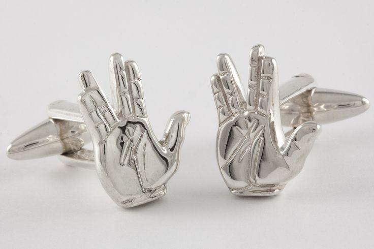 """Live Long & Prosper"" - Handcrafted Vulcan salute cufflinks in Sterling Silver."