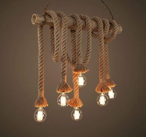 kit 3 pendente luminária corda lâmpada antiga retro vintage