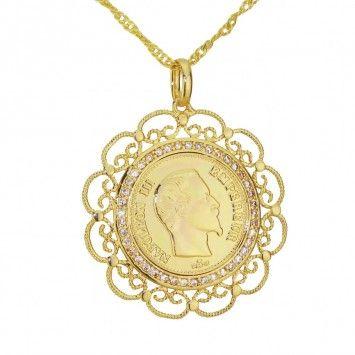 "Pendentifs Or Plaqué - Pendentif ""Louis Napoléon"" - Lamia - PE209 pendentif, plaqué argent, plaqué or, chaîne, pendentif, oriental, bijou, bijoux,"