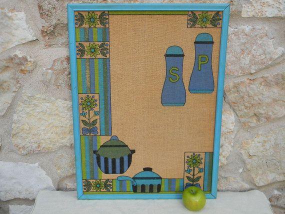 Vintage Mid Century Kitchen Bulletin Board by AustinMetroRetro, $35.00