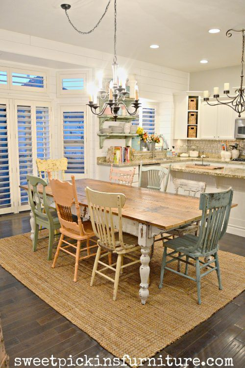 Oh my goodness, I am in love. In love with DIY Farmhouse Table and chalk distressed chairs. I love how every chair is different. This farmhouse kitchen table is so unique and perfect. More DIY Fixer Upper Farmhouse Style Ideas on Frugal Coupon Living.