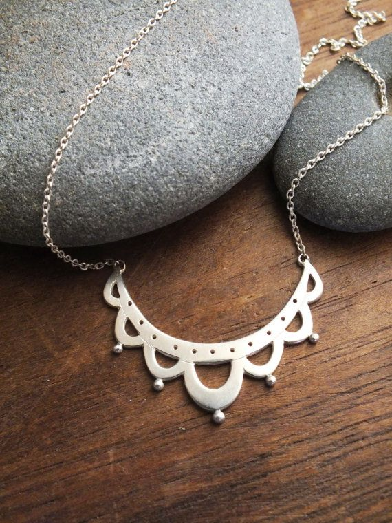 lace antiquity necklace - hand crafted sterling silver lace jewelry