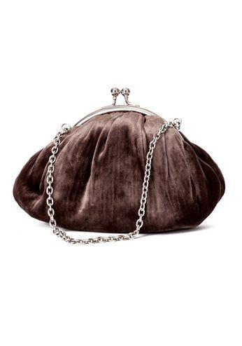 bolso en forma de bombonera de ante aterciopelada con cierre de boquilla en plata http www. Black Bedroom Furniture Sets. Home Design Ideas