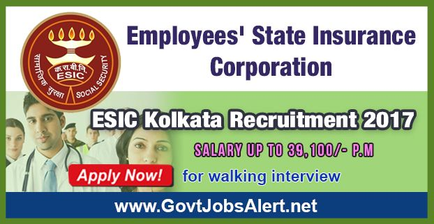 ESIC Kolkata Recruitment 2017 – Walk in Interview for Community Medicine, Anatomy, Microbiology and Pathology Posts, Salary Rs.39,100/- : Apply Now !!!  The Employees State Insurance Corporation Kolkata - ESIC Kolkata Recruitment 2017 has released an official employment notification inviting interested and eligible candidates to apply for the positions of Community Medicine, Anatomy, Microbiology and Pathology. The interested candidates have to attend the walk in intervie