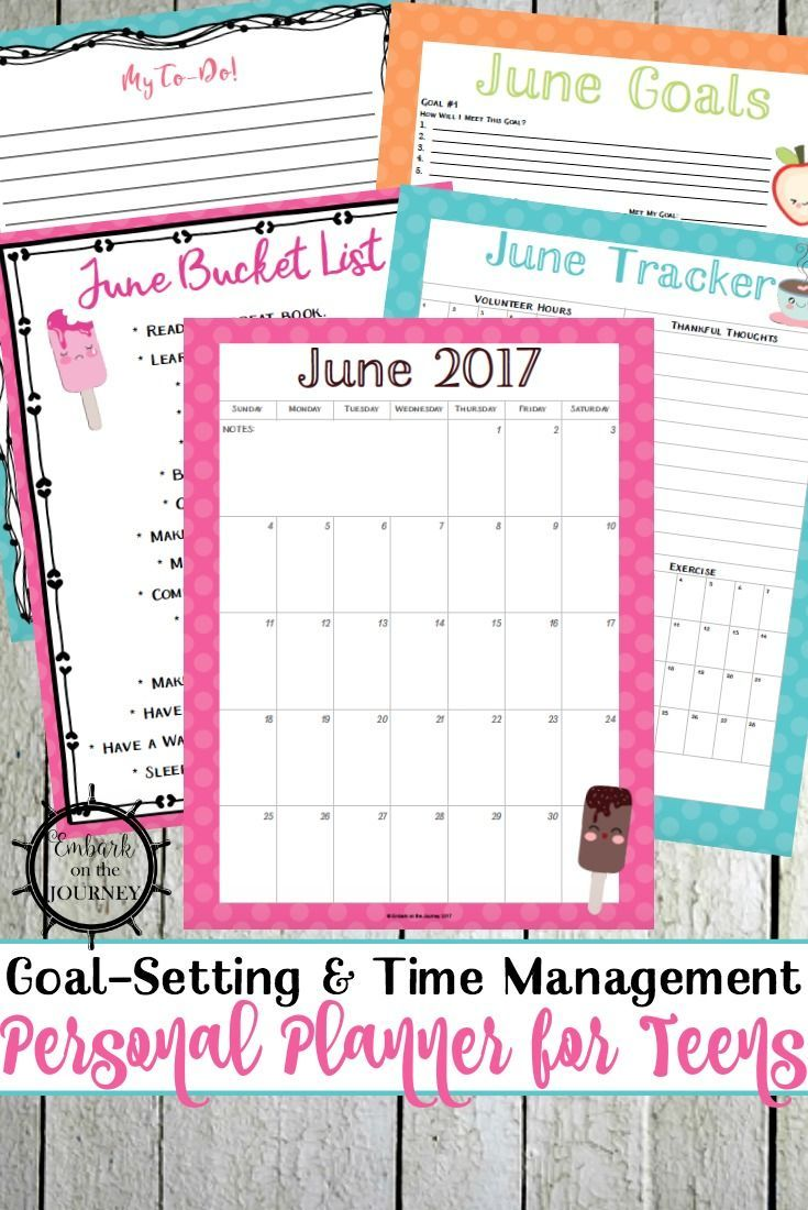 Summer's almost here! Help your teens stay organized with a personal planner for teens. This one has calendars, goal trackers, journal prompts, and more! via @letsembark