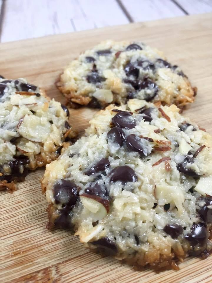 Coconut Stevia-sweetened chocolate chips almonds and homemade (sugar free) low carb sweetened condensed milk. Only 4 ingredients and…
