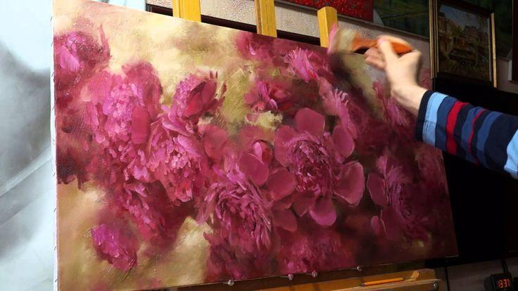 """""""Пионы"""". Олег Буйко.  Живопись маслом. Process of creating oil painting."""