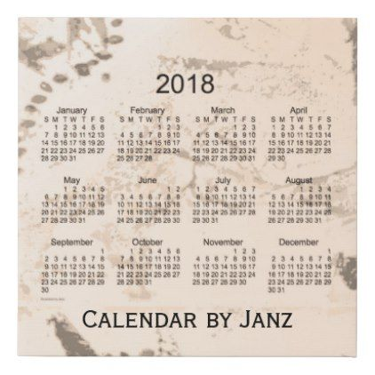 #2018 Old Brown Paint Wall Calendar by Janz Faux Canvas Print - #wednesday #wednesdays