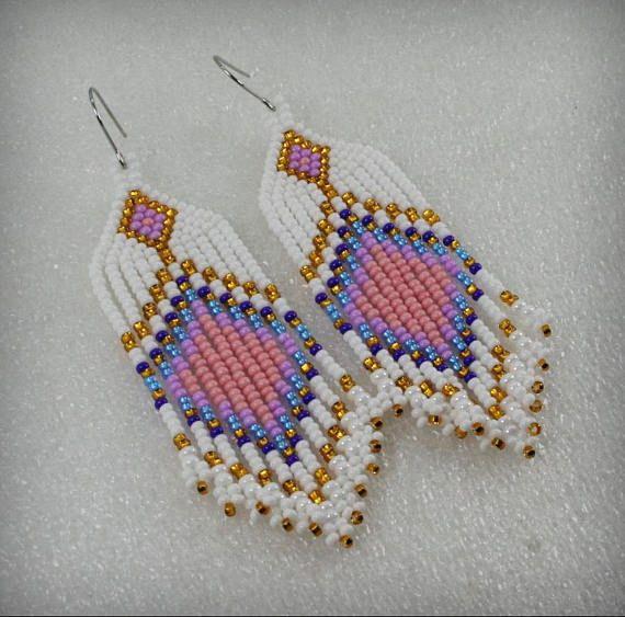 Long Indian style beads earrings tribal style boho style
