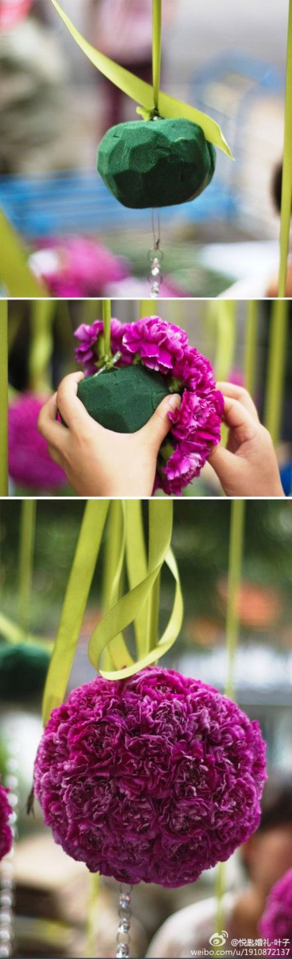 DIY Hanging Flower Ball with carnations, love this for over gift or dessert…