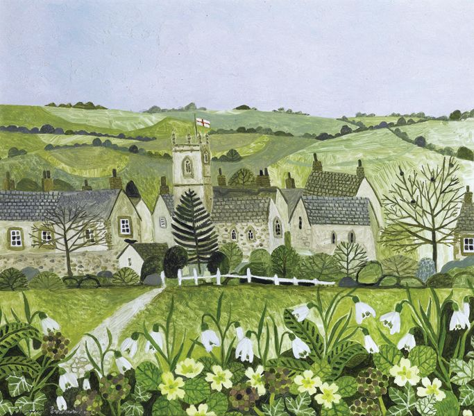 Church Tower and Snowdrops  by Vanessa Bowman