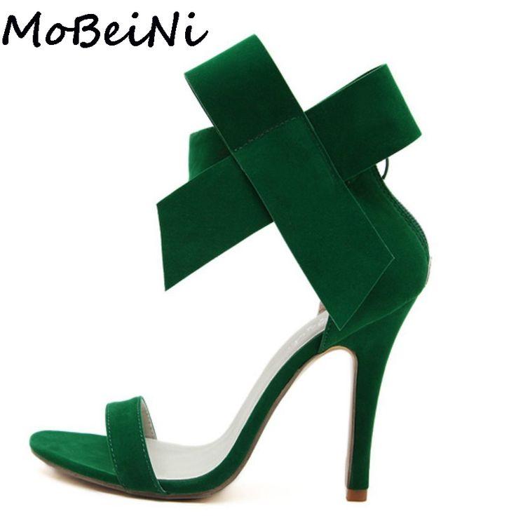 14.36$  Buy here - MoBeiNi Bowknot Bow Wedding Shoes Women High Heel Open Toe Pumps Stiletto Women Big Bowtie Butterfly Knot Sandals Plus Size   #magazine