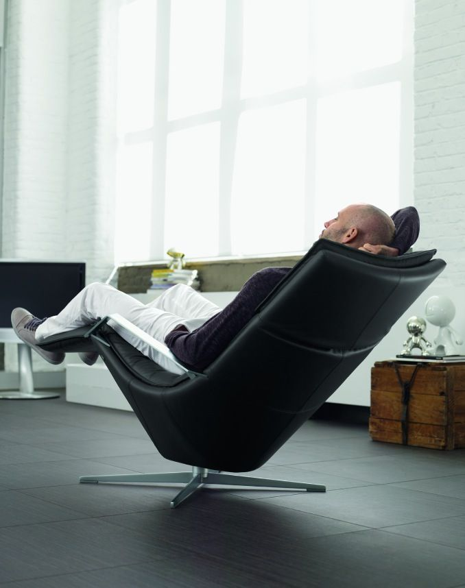 Contemporary black recliner chair