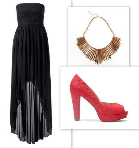 Verev kesimli siyah elbise, frambuaz rengi topuklu ayakkabılar ve enfes bir kolye... Yılbaşı partisine hazırsınız.