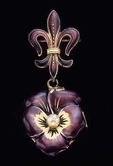 Swiss. A sterling silver, gilt, enamel and pearl-set flower-form brooch watch  Movement signed Imperial Watch Co., circa 1910   With nickel-finished lever movement, 17 jewels, the pink dial with Arabic numerals, the sterling silver and gilt flower-form case decorated with purple, yellow and black enamel, centered by a pearl, together with a sterling silver fleur de lys brooch decorated with purple enamel, with associated Tiffany & Co. presentation box, dial signed Lample
