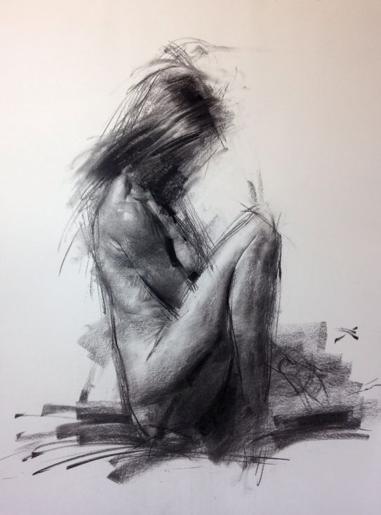 ARTFINDER: Allegro NO.9 by Zin Lim - ALLEGRO Series. Expressive figure drawing with primitive charcoal by Zin Lim.